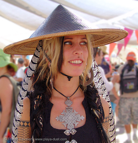 breanna levine - burning-man 2005, burning man, center camp, conical, conical hat, coptic, coptic cross, fake dof, fashion, medusa piercing, people, pointed hat, straw hat