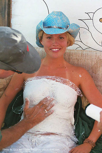 breast cast - burning-man 2003, art, breasts, burning man, center camp, plaster, straw hat, woman
