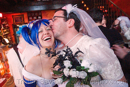bride and groom dressed as bride - akatrielle - brides of march (san francisco), akatrielle, blue hair, bridal bouquet, bride, brides of march, flowers, man, wedding, white roses, woman