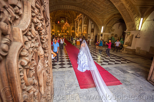 bride entering church - san augustin church - manila (philippines), bride, door, long veil, manila, philippines, red carpet, san augustin church, wedding dress, white, woman