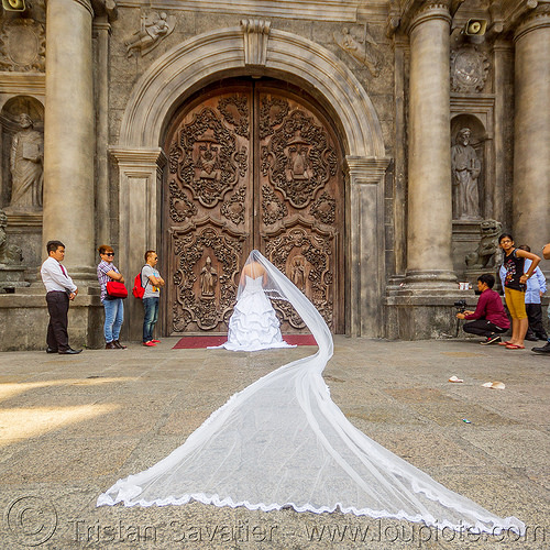 bride wedding dress with very long veil - manila (philippines), bride, door, long veil, manila, philippines, san augustin church, wedding dress, white, woman
