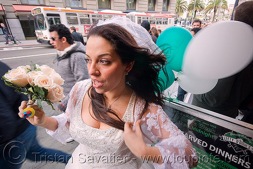 bride with bouquet and balloons - diana furka - brides of march (san francisco), balloons, bridal bouquet, bride, brides of march, flowers, wedding, white roses, woman