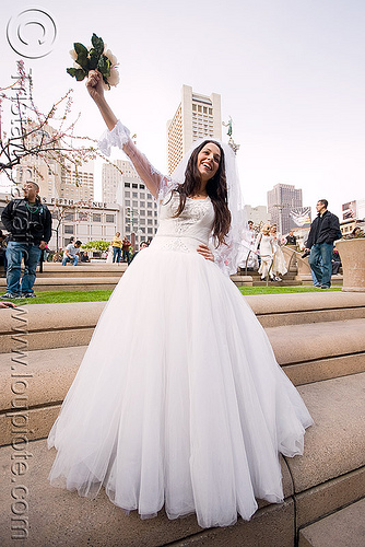 bride with bouquet - diana furka -  brides of march (san francisco), bridal bouquet, brides of march, diana furka, festival, flowers, wedding dress, white roses, woman