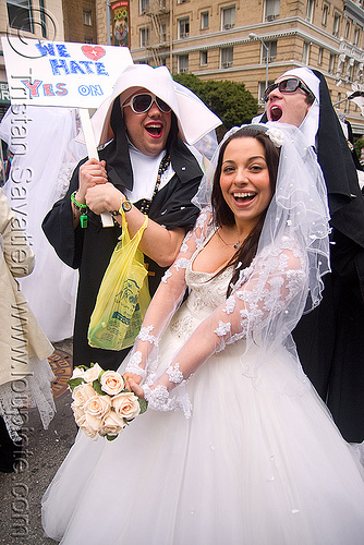 bride with nuns - diana furka - brides of march (san francisco), bouquet, bridal bouquet, festival, flowers, people, wedding, wedding dress, white, white roses, woman