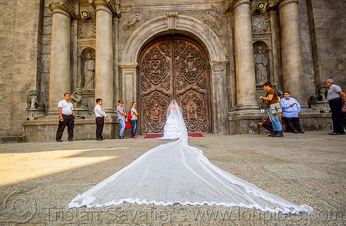 bride with very long veil - san augustin church - manila (philippines), bride, columns, door, long veil, manila, philippines, san augustin church, wedding dress, white, woman