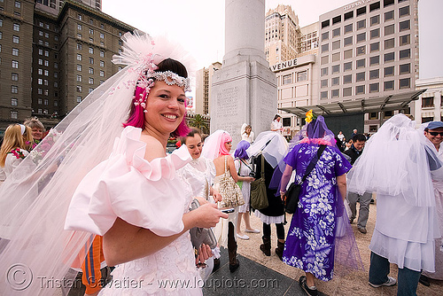 brides of march (san francisco), brides of march, festival, wedding dress, white