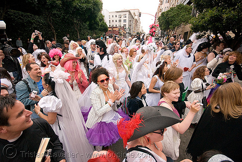 brides of march (san francisco), brides of march, crowd, festival, street, wedding, white