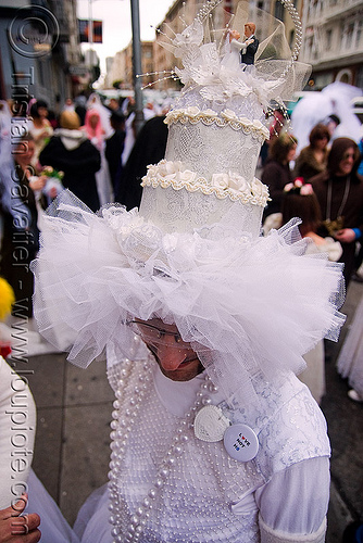 brides of march (san francisco), bride, brides of march, man, wedding cake, wedding hat, white