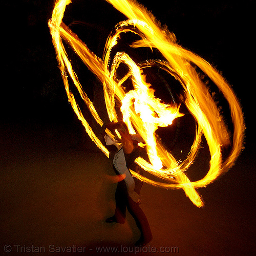 bridget spinning a fire hula hoop (san francisco), bridget h, fire dancer, fire dancing, fire hula hoop, fire performer, fire spinning, hula hooping, night, spinning fire