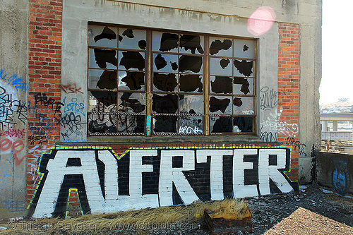 broken bay windows - ALERTER graffiti, abandoned factory, alerter, bay windows, broken window, derelict, graffiti piece, industrial, street art, tags, tie's warehouse, trespassing
