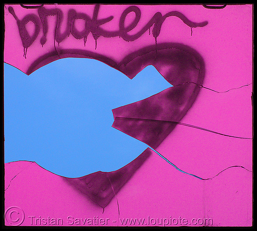 broken heart, broken heart, graffiti, love, photoshoped, pink, street art, valentine's day, window
