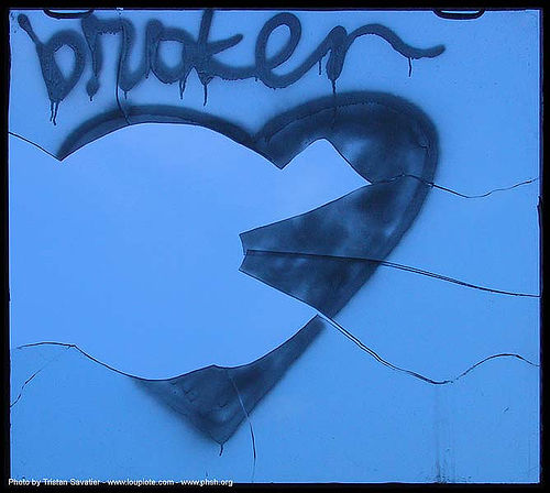 broken-heart - window - abandoned hospital (presidio, san francisco) - phsh, abandoned building, abandoned hospital, blue, broken heart, graffiti, love, presidio hospital, presidio landmark apartments, trespassing, window