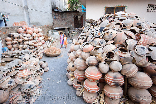 broken water jugs - clay pots, broken, children, clay pots, india, kids, udaipur, water jugs