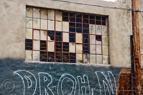 broken windows - abandoned factory, abandoned factory, bay window, brick, broken windows, derelict, graffiti, industrial, tie's warehouse, wall