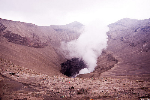 bromo crater, bromo volcano, gunung bromo, java, mountains, smoke, smoking, volcanic ash, volcano crater