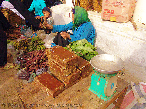 brown cane sugar bricks - vietnam, bricks, brown sugar, cane sugar, hill tribes, indigenous, mèo vạc, raw sugar, stall, street market