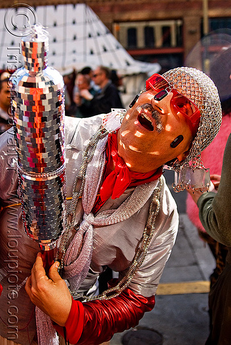 bruce beaudette - chainmail hood - disco mirrors (san francisco), bruce beaudette, chainmail  hood, costume, how weird festival, man, mirrors, red, reflections, sunglasses
