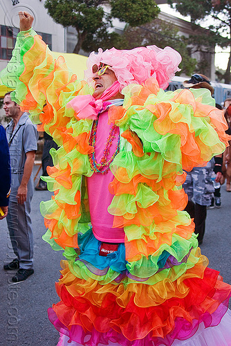 bruce beaudette in flamenco dress - burning man decompression (san francisco), bruce beaudette, flamenco dress, man, neon colors