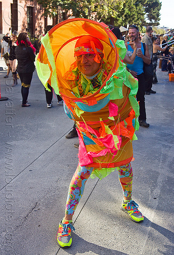 bruce beaudette with a weird pipe costume, bruce beaudette, colorful, pipe costume, stockings, tights, tube costume