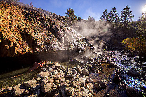 buckeye hot springs (california), bath, bathing, buckeye hot springs, california, concretions, dripping, eastern sierra, nude, pool, rocks, smoke, smoking, steam, travertine, woman