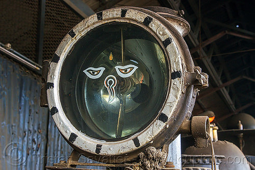 buddha eyes on headlight of steam locomotive - darjeeling (india), 802 victor, buddha eyes, buddhism, darjeeling himalayan railway, darjeeling toy train, headlight, india, narrow gauge, railroad, steam engine, steam locomotive, steam train engine, wisdom eyes