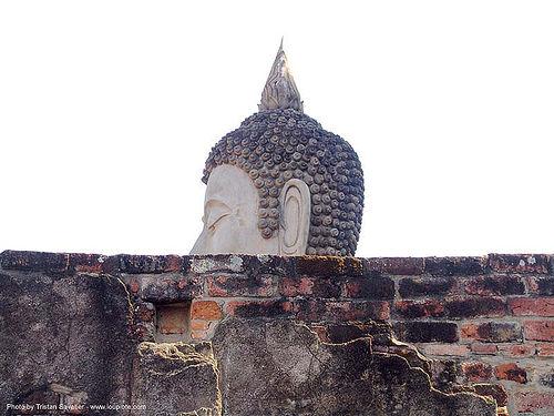พระพุทธรูป - buddha head statue - อุทยาน ประวัติศาสตร์ สุโขทัย - เมือง เก่า สุโขทัย - sukhothai - thailand, bricks, buddha image, buddha statue, buddhism, buddhist temple, head, sculpture, sukhothai, wall, wat, ประเทศไทย, พระพุทธรูป, อุทยาน ประวัติศาสตร์ สุโขทัย, เมือง เก่า สุโขทัย