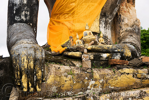 buddha statue in ruin of temple destroyed in the war - muang khoun (laos), buddha image, buddha statue, buddhism, cross-legged, laos, muang khoun, ruins, sculpture, wat phia wat