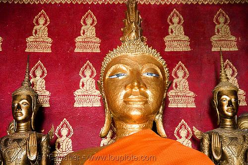 buddha statue in temple - luang prabang (laos), buddha image, buddha statue, buddhism, buddhist temple, golden color, luang prabang, sculpture
