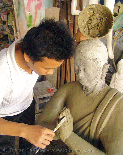 buddha statue made in statue factory - clay - vietnam, buddha image, buddha statue, buddhism, clay, concrete, nha trang, sculpture, statue factory, worker, working