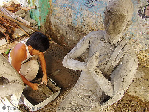 buddha statue made in statue factory - vietnam, buddha image, buddhism, clay, concrete, nha trang, people, sculpture