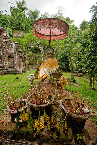 buddha statue with umbrella - wat phu champasak (laos), altar, buddha image, buddha statue, buddhism, incens, khmer temple, laos, main shrine, umbrella, wat phu champasak