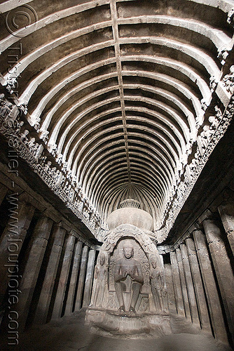 "the buddhist ""carpenter's"" cave (cave 10) - ellora caves (india), buddha image, buddha statue, buddhism, buddhist temple, ellora caves"