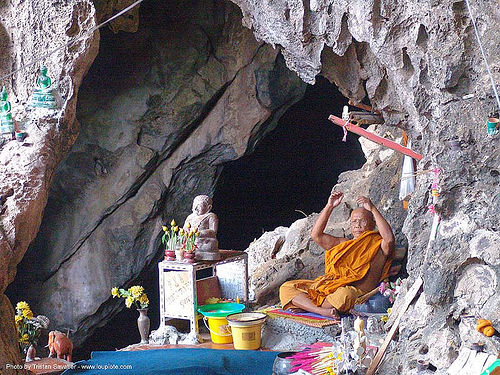buddhist monk in natural cave - thailand, bhagwa, buddhist monk, caving, natural cave, saffron color, spelunking, ประเทศไทย