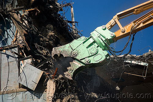building demolition - caterpillar MP30 concrete pulverizer jaws, abandoned building, anthropomorphic, at work, attachment, cat 385c, cat mp30, caterpillar excavator, crane, heavy equipment, high reach demolition, hydraulic, long reach demolition, machinery, presidio hospital, working