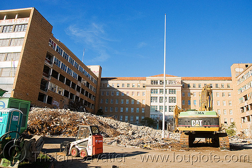 building demolition - PHSH - abandoned hospital (presidio, san francisco), abandoned building, abandoned hospital, building demolition, presidio hospital, presidio landmark apartments