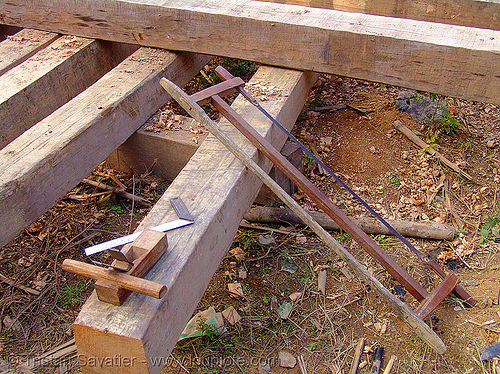 building a house - wood beams and tools - vietnam, construction, hand saw, home builders, house, lumber, timber, tools, wood beams, wood saw