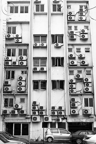 building with air conditioners (kuala lumpur), air conditioners, air conditioning, apartments, building, cars, electricity, facade, housing, kuala lumpur, malaysia, residential, windows, york