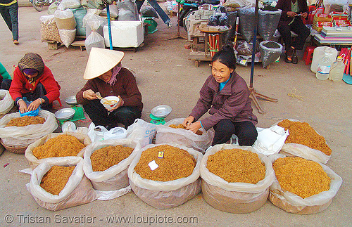 bulk tobacco - vietnam, asian woman, asian women, lang sơn, market, people, stall, street market