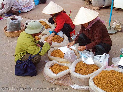 bulk tobacco - vietnam, asian woman, asian women, lang sơn, old, stall, street market, tobacco