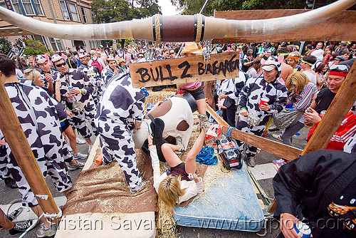 bull 2 breakers float - cow costumes, bay to breakers, bull 2 breakers, bull horns, carnival float, costume, cow costumes, crowd, festival, footrace, street party