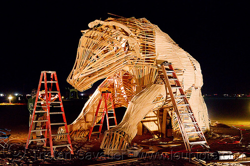 bull wooden frame - burning man 2012, art installation, burning man, c.o.r.e., circle of regional effigies, construction, core project, ladders, night, reincarnation, reincownation, sculpture, wood, wooden frame