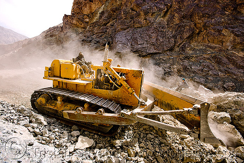 bulldozer clearing boulders - road construction - ladakh (india), at work, bd80, beml, dozer, dust, groundwork, heavy equipment, hydraulic, machinery, roadworks, rubble, working