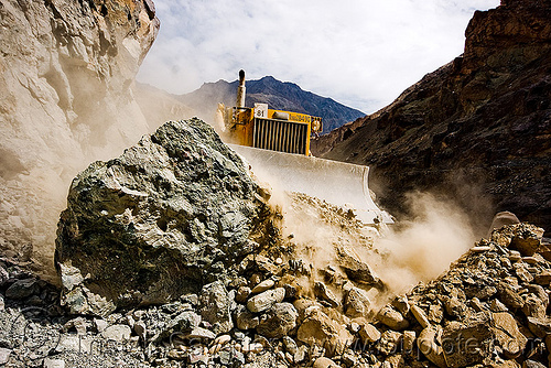 bulldozer clearing boulders - road construction - ladakh (india), at work, bd80, beml, bulldozer, dangerous, dust, groundwork, india, ladakh, road construction, roadworks, rubble, working