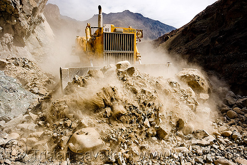 bulldozer clearing boulders - road construction - ladakh (india), at work, bd80, beml, bulldozer, dangerous, dust, groundwork, india, ladakh, mountains, road construction, roadworks, rubble, working