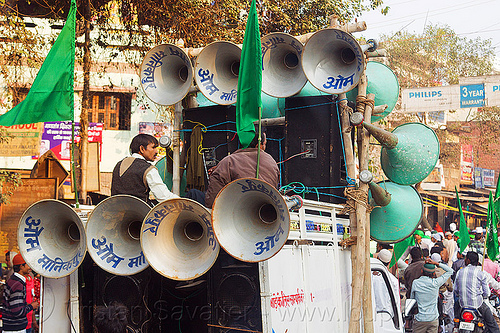 bullhorn loudspeakers on pickup truck - eid-milad-un-nabi muslim festival (india), bullhorns, crowd, eid e milad un nabi, eid e milād un nabī, india, islam, loudspeakers, mawlid, men, muhammad's birthday, muslim festival, muslim parade, muslims, nabi day, prophet's birthday, sound, speakers, عید میلاد النبی, ईद मिलाद नबी