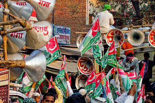 bullhorns and muslim flags - eid-milad-un-nabi muslim festival (india), bullhorns, crowd, eid e milad un nabi, eid e milād un nabī, india, islam, loudspeakers, mawlid, men, muhammad's birthday, muslim festival, muslim parade, muslims, nabi day, prophet's birthday, sound, speakers, عید میلاد النبی, ईद मिलाद नबी