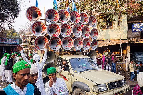 bullhorns sound system on pickup truck - eid-milad-un-nabi muslim festival (india), crowd, eid-e-milad, eid-e-milad-un-nabi, eid-e-milād-un-nabī, islam, loudspeakers, mawlid, men, milad un-nabi, milad-an-nabi, milād an-nabī, milād un-nabī, mohammed's birthday, muhammad's birthday, muslim parade, muslims, nabi day, people, prophet's birthday, religion, speakers, street, عید میلاد النبی, میلاد النبی, ईद मिलाद, ईद मिलाद नबी, मिलाद नबी