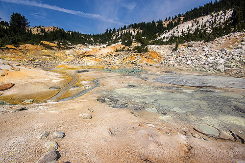 bumpass hell hot springs - lassen volcanic national park, bumpass hell, geothermal, hot springs, lassen volcanic national park, mountain, pool, streams, water