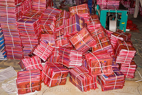 bundles of books in print shop, bundled, bundles, heap, india, lucknow, packages, print shop, printed paper, red color