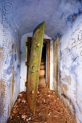 bunker door (laos), armored door, bunker, laos, military, rusty, viang xai, vietnam war